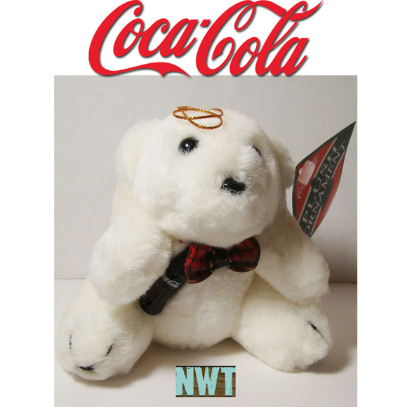 COCA-COLA POLAR BEAR CHRISTMAS PLUSH ORNAMENT SET OF 3 NEW IN PACKAGE!